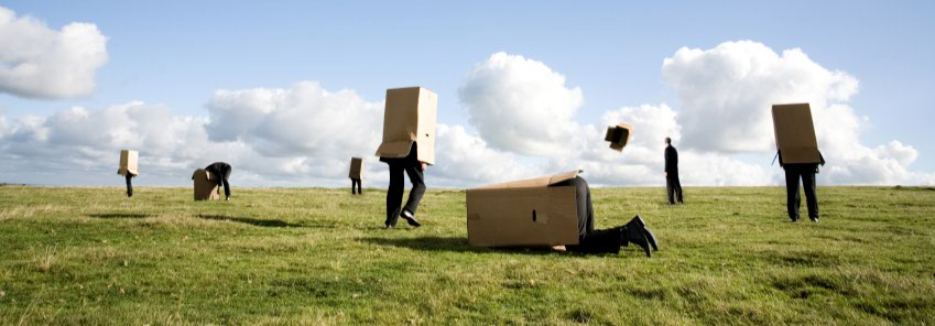 image of people in boxes in field